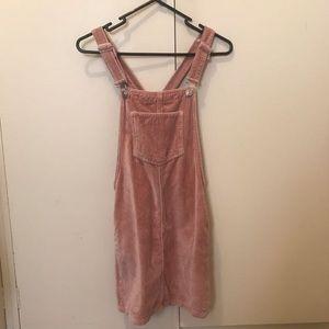 Topshop pink velvet pinafore overalls dress